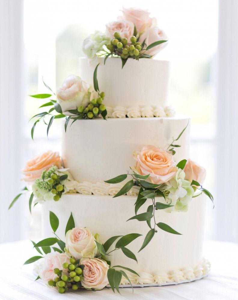 Tier Wedding Cake Eucalyptus Peach Flowers