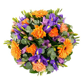 Purple&orange open posy